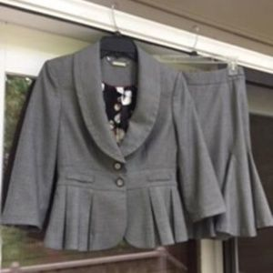 WHITE HOUSE/ BLACK MARKET Gray Suit Jacket & Skirt